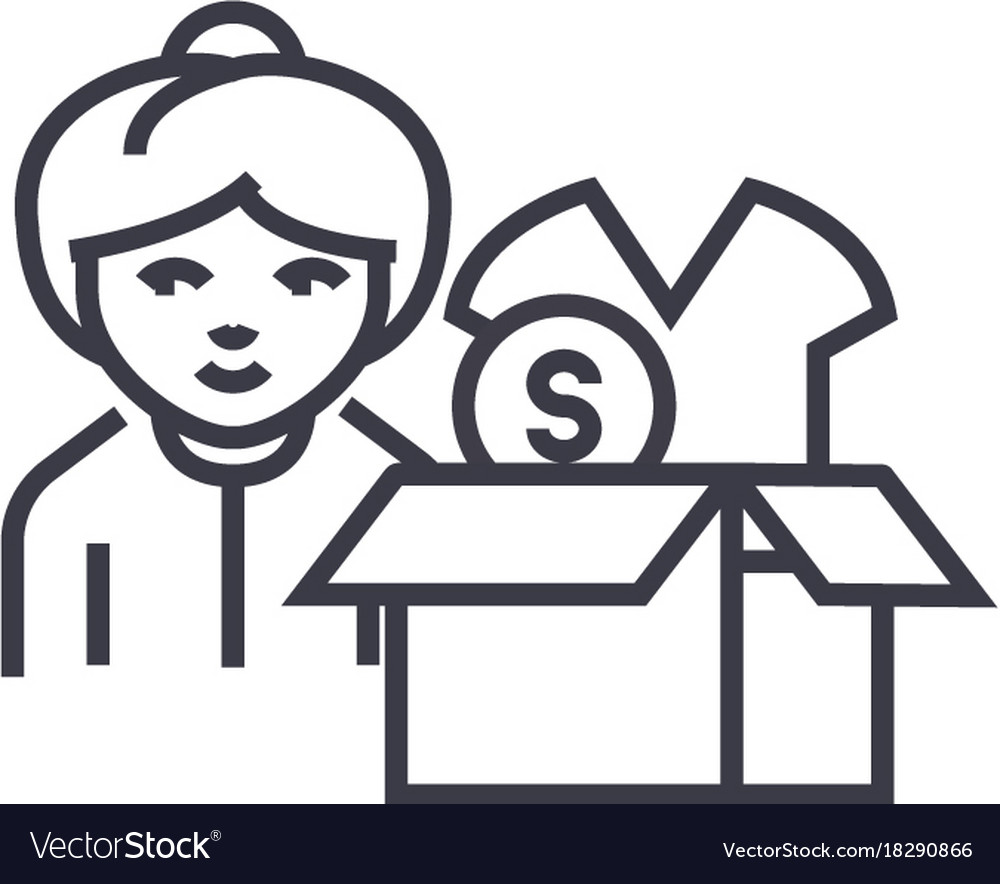 Drop shipping concept concept thin line vector image