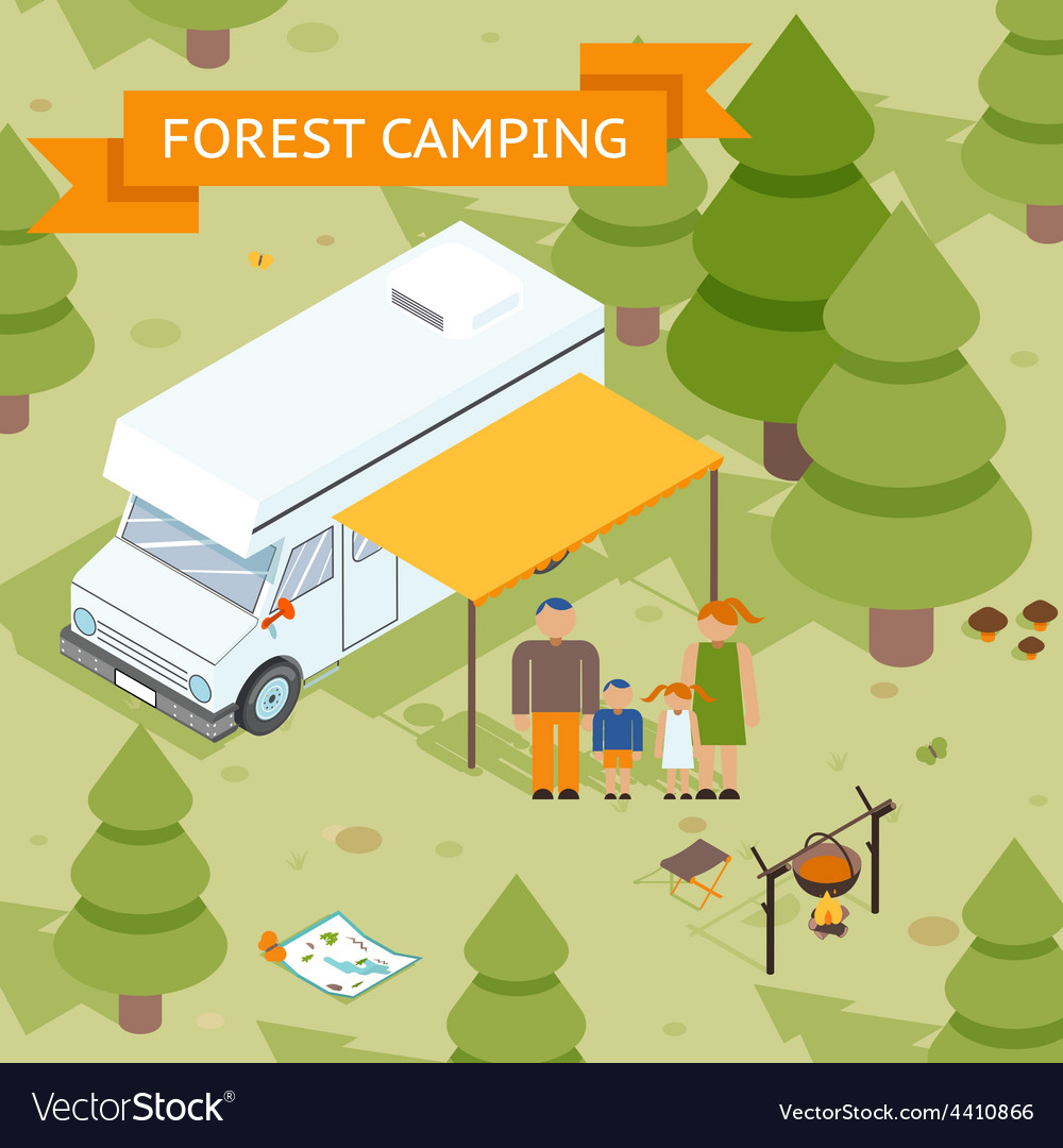 Family isometric forest camping vector image