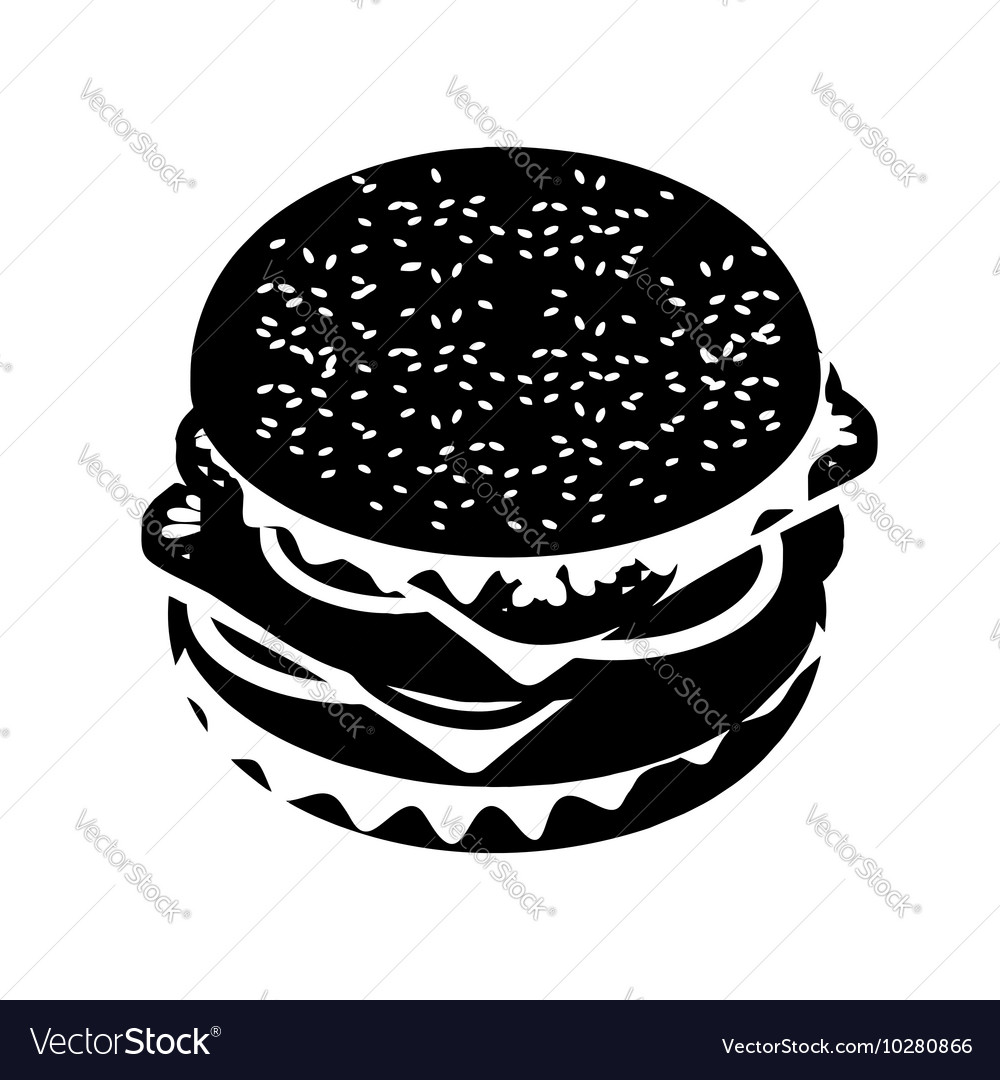 Hamburger silhouette sign Fast food in flat style vector image