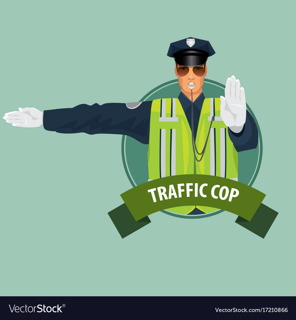 Round icon with officer of traffic police vector image