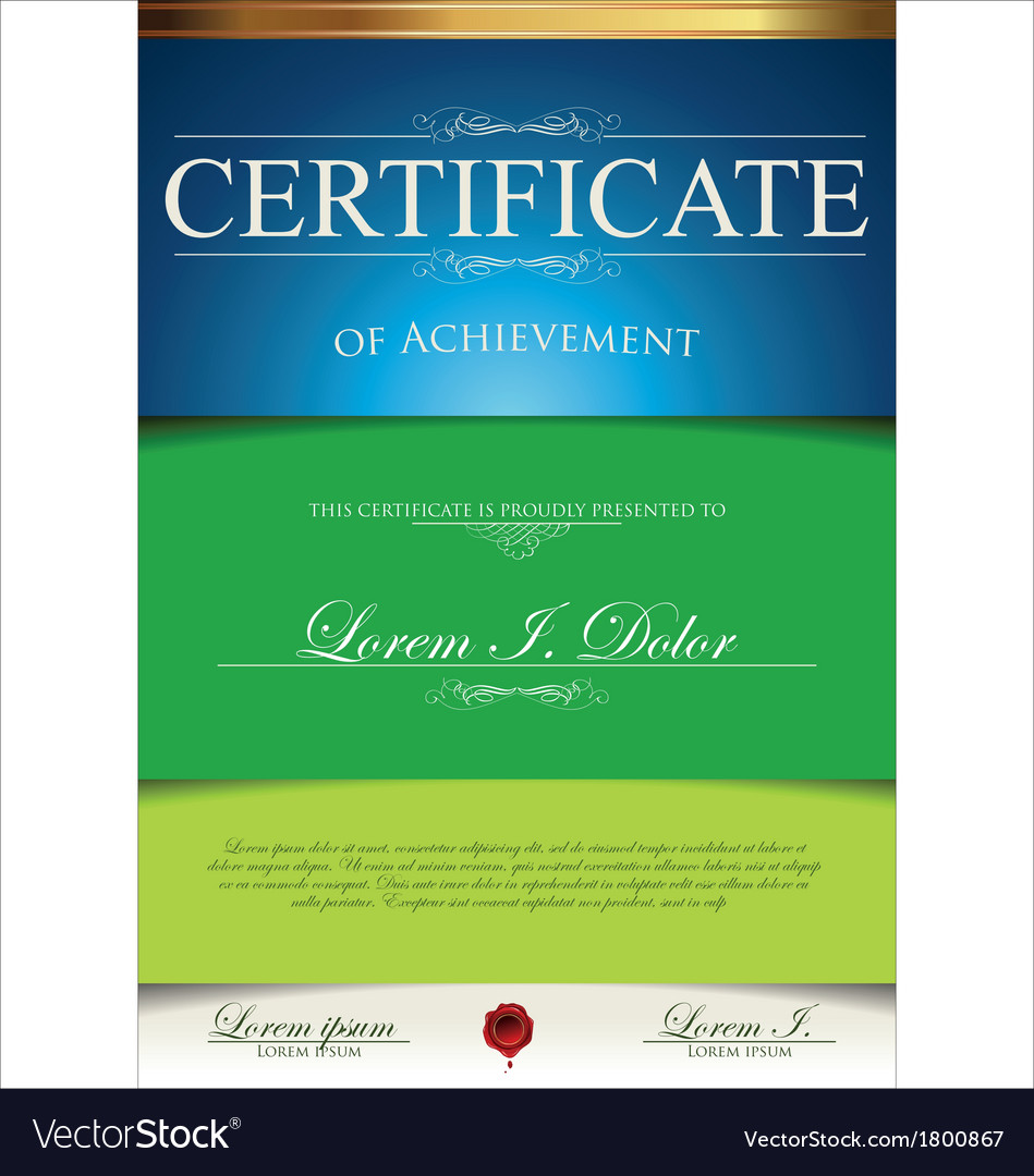 Green and blue certificate template vector image