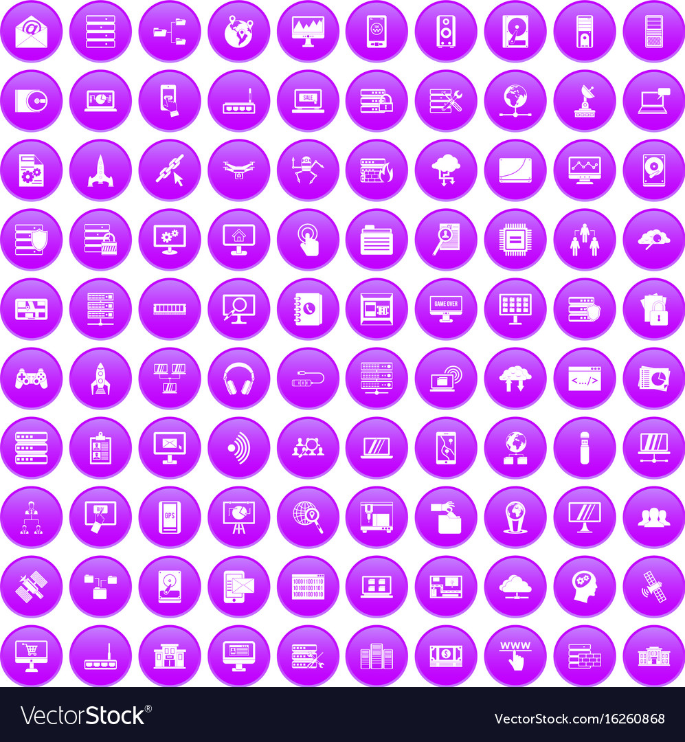 100 database and cloud icons set purple vector image