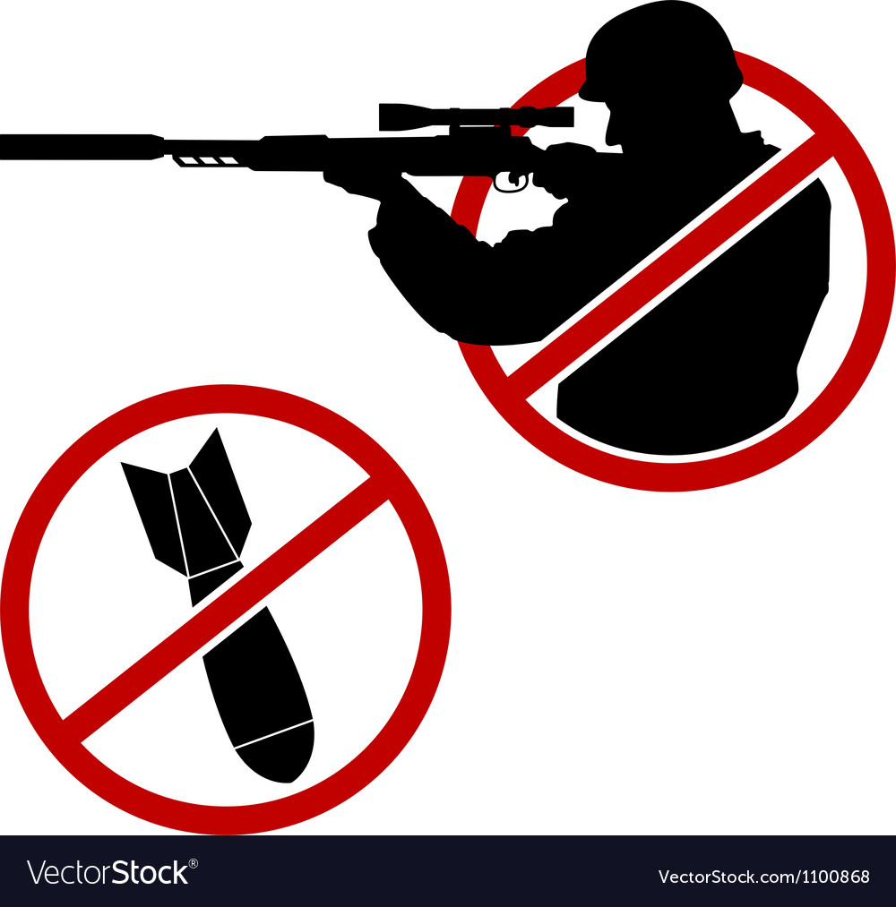 Signs of antisniper and no war vector image