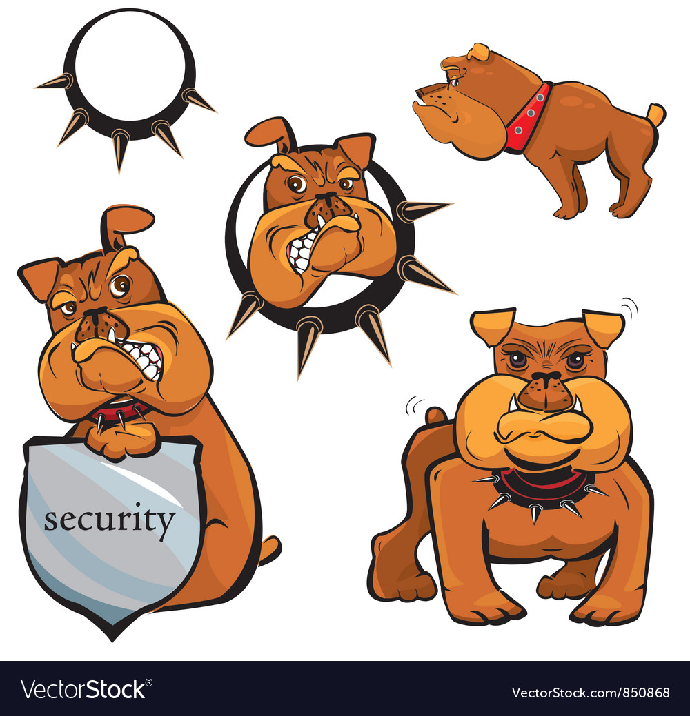 Set of Bulldog cartoons vector image