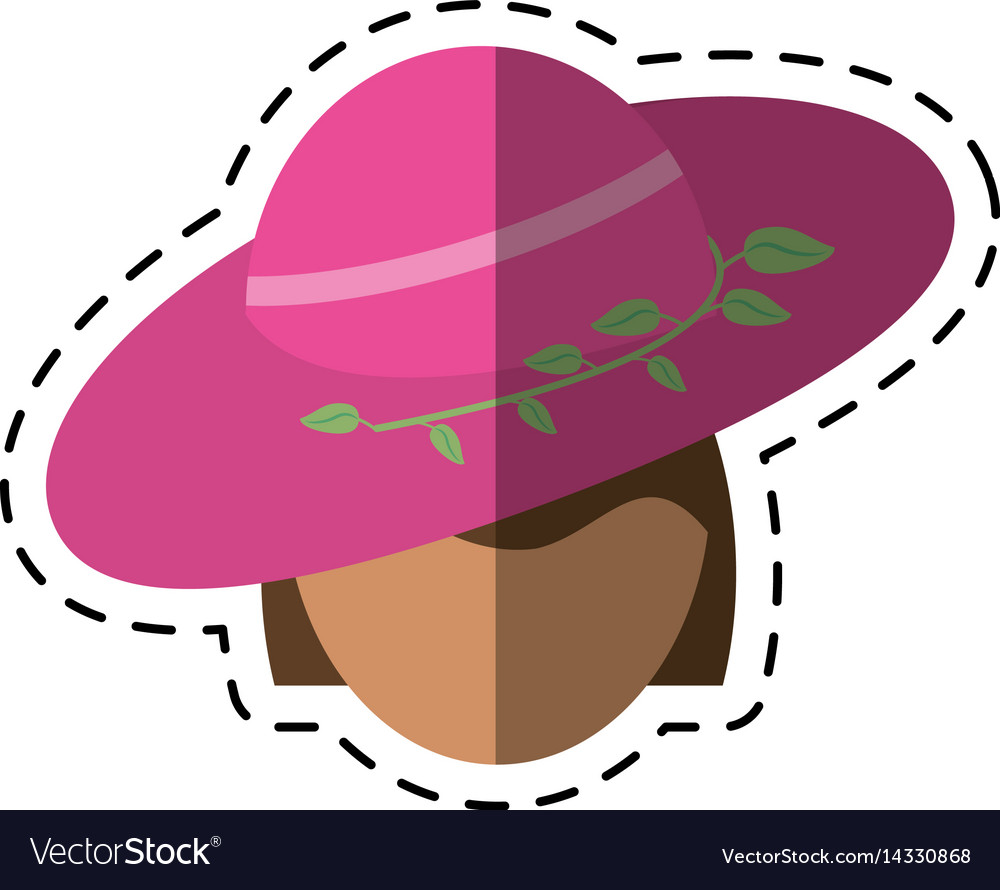 Cartoon women day face woman pink hat vector image
