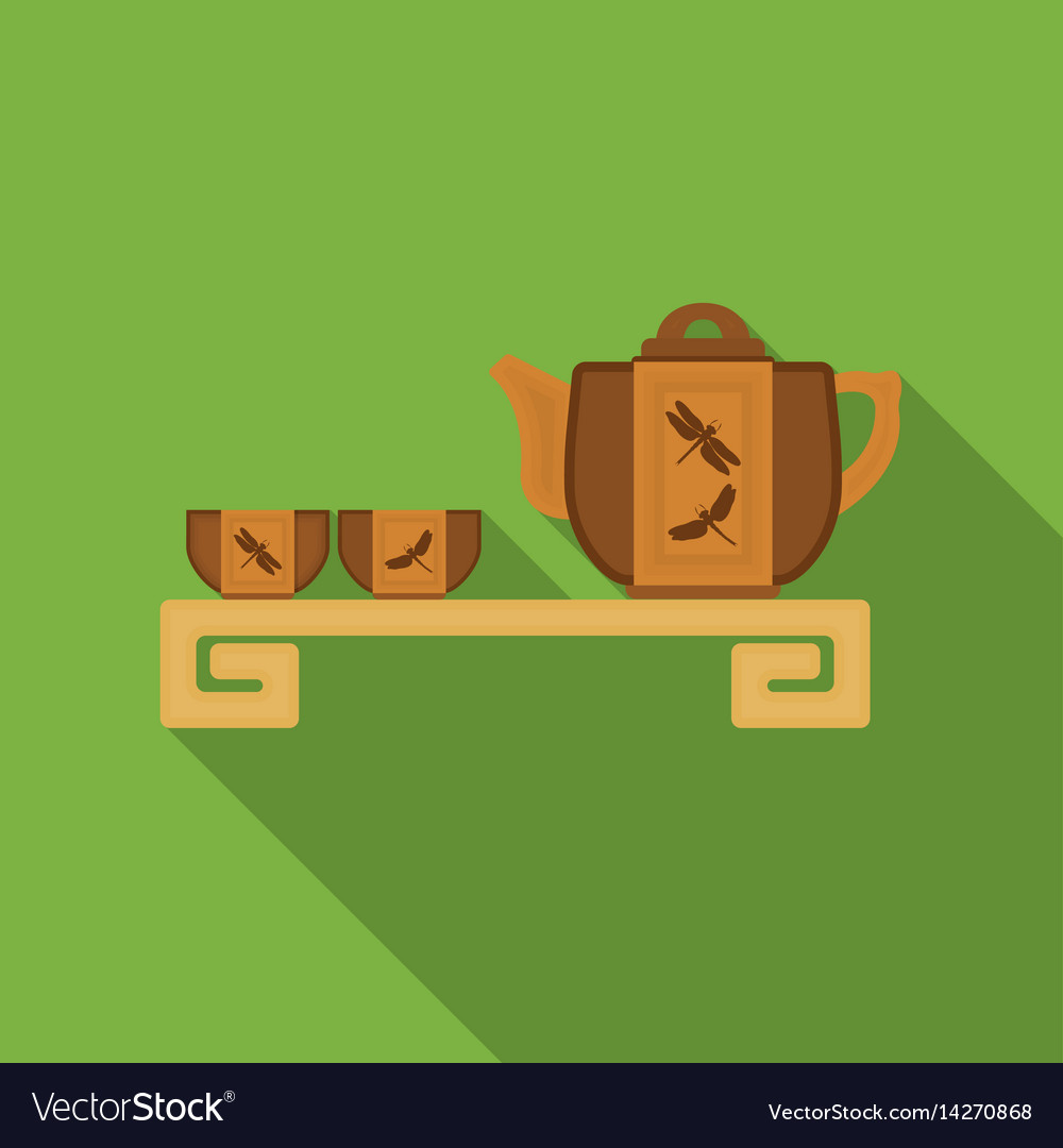 Japanese tea flat icon in flat style isolated on vector image