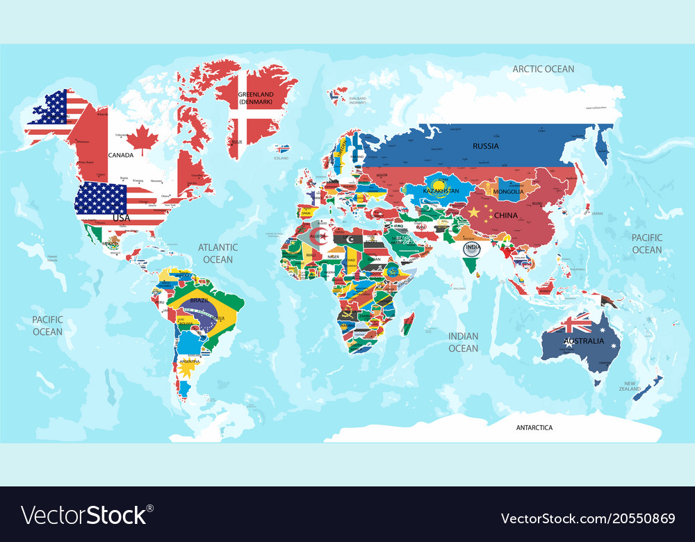 Map with flags royalty free vector image vectorstock map with flags vector image gumiabroncs Images