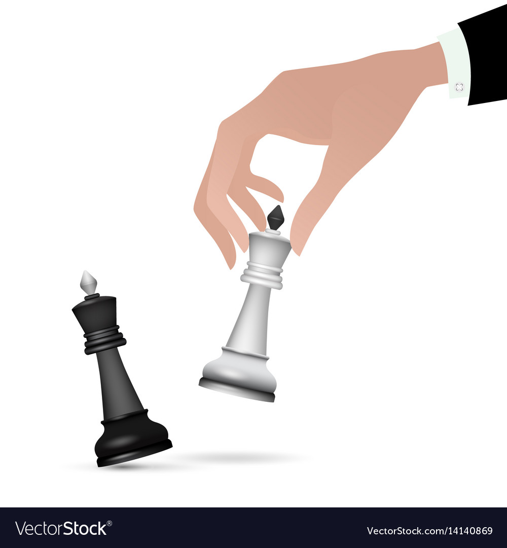 Strategist holding in hand chess figure black king vector image