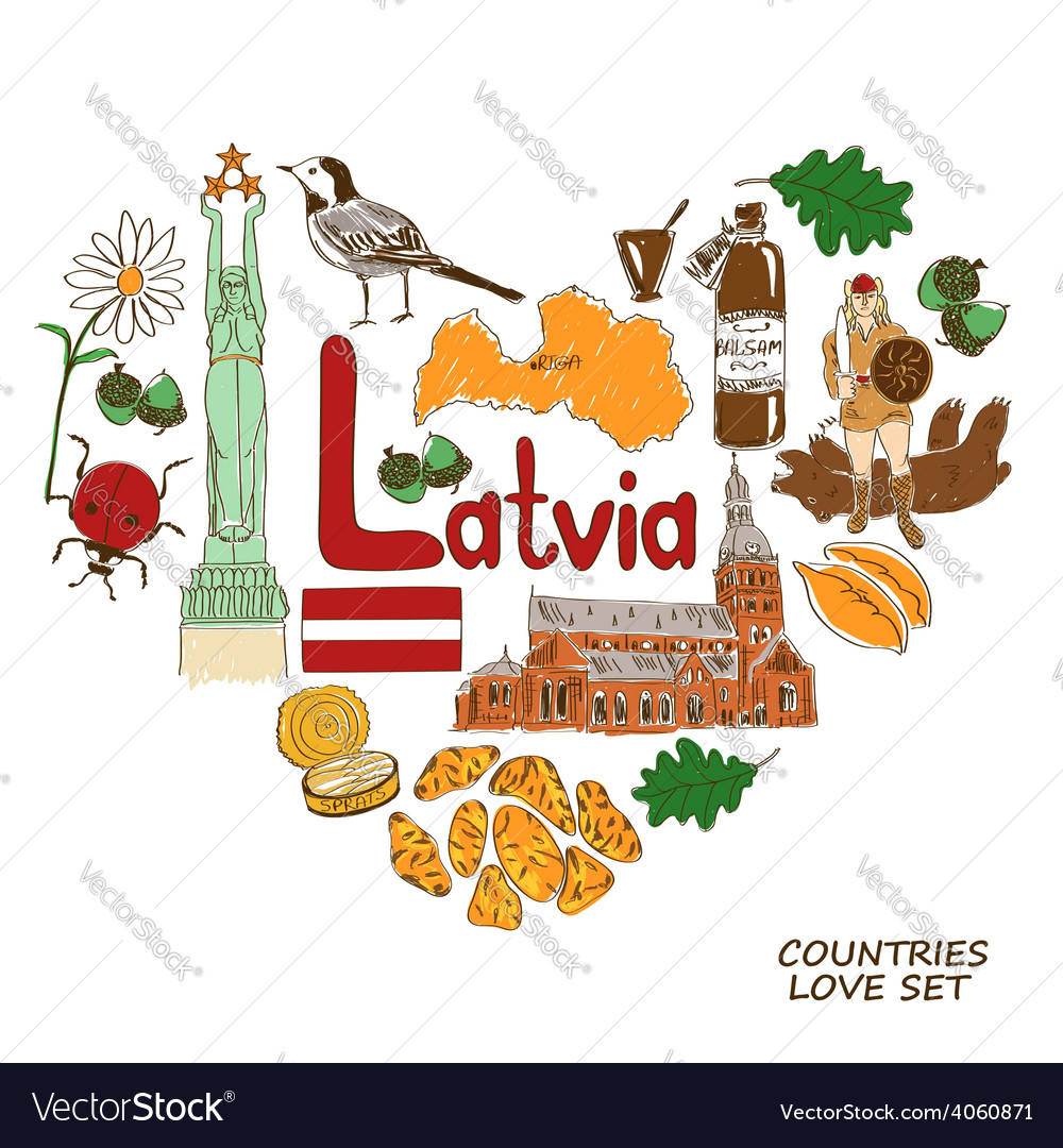 Latvian symbols in heart shape concept royalty free vector latvian symbols in heart shape concept vector image buycottarizona Image collections