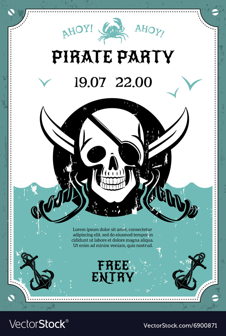 Pirate party announcement poster with skull vector image