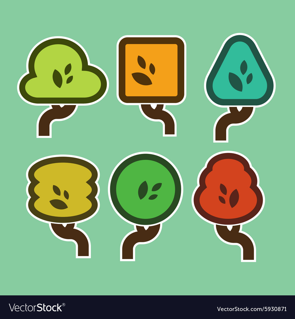 Simple Tree Icons vector image