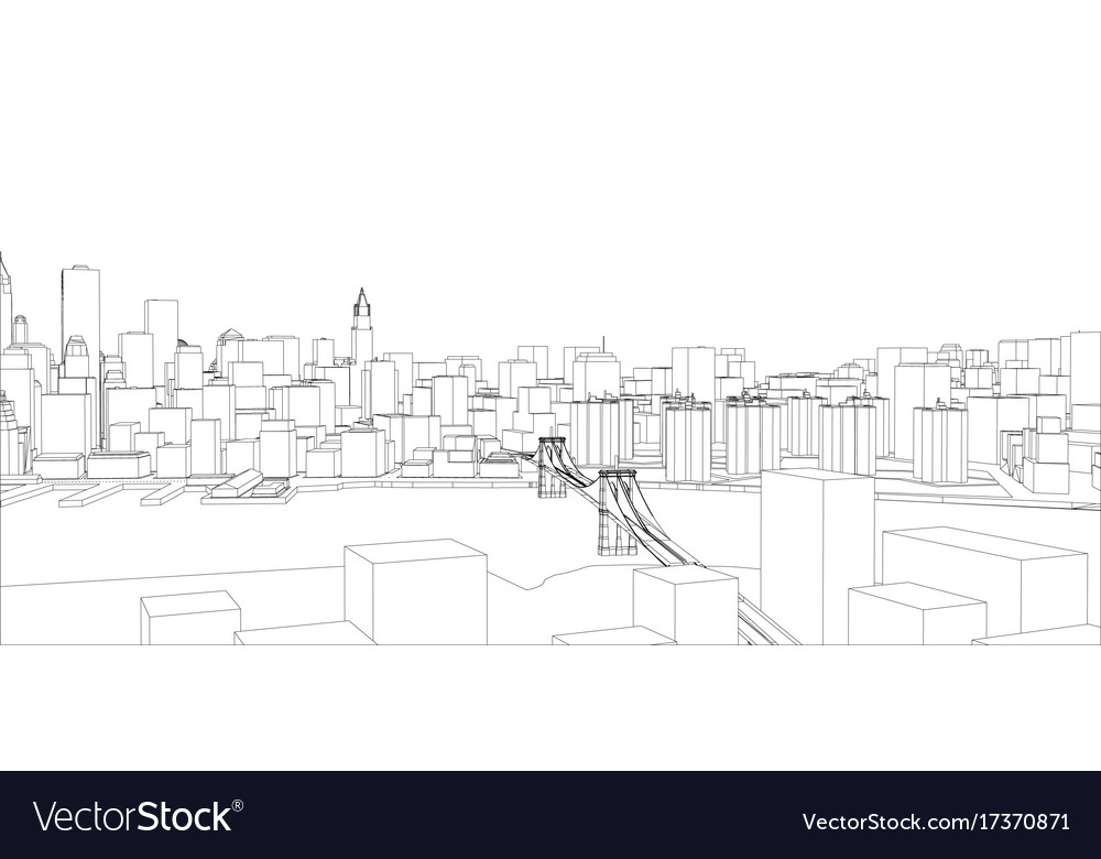 Wire frame new york city blueprint style vector image wire frame new york city blueprint style vector image malvernweather Image collections