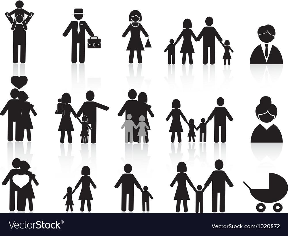 Black happy family icons set vector image