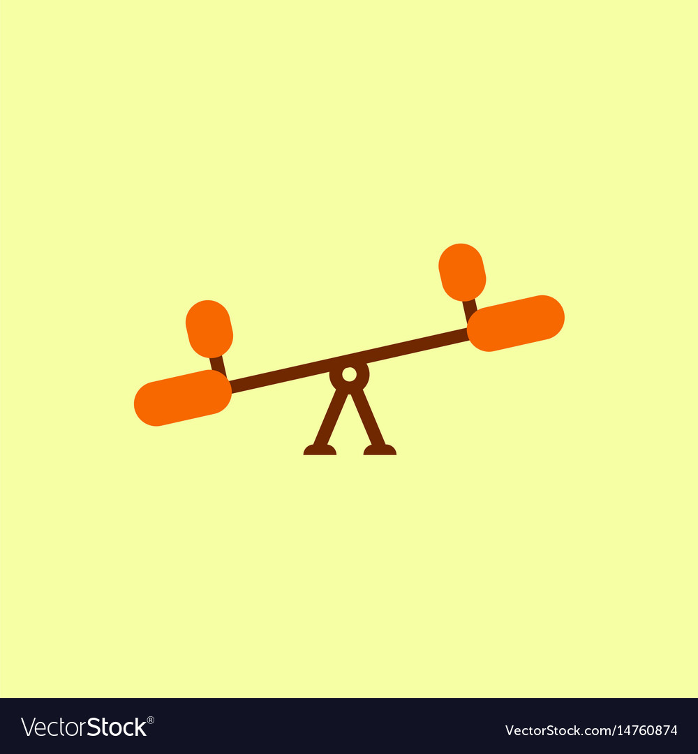 In flat style childs seesaw