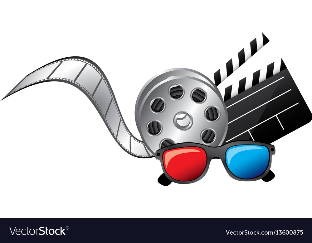 3d glasses clapper board film and film production vector image