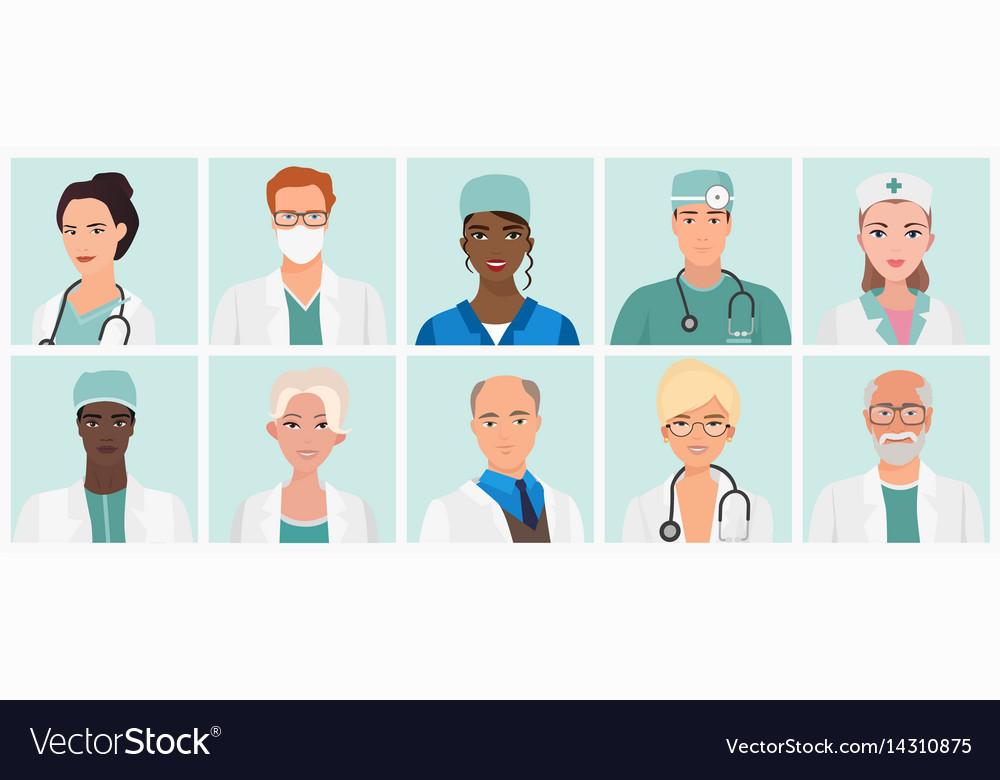 Doctors and nurses avatars set medical staff vector image