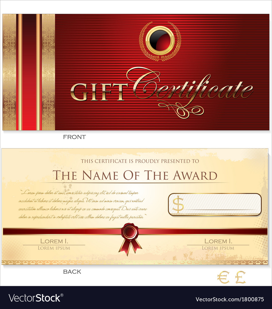 Red gift certificate template royalty free vector image red gift certificate template vector image yelopaper Choice Image