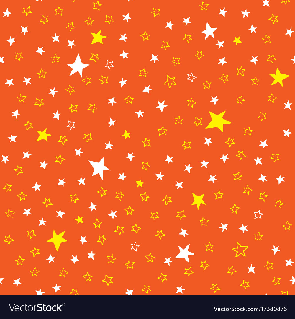 Orange seamless pattern with stars vector image