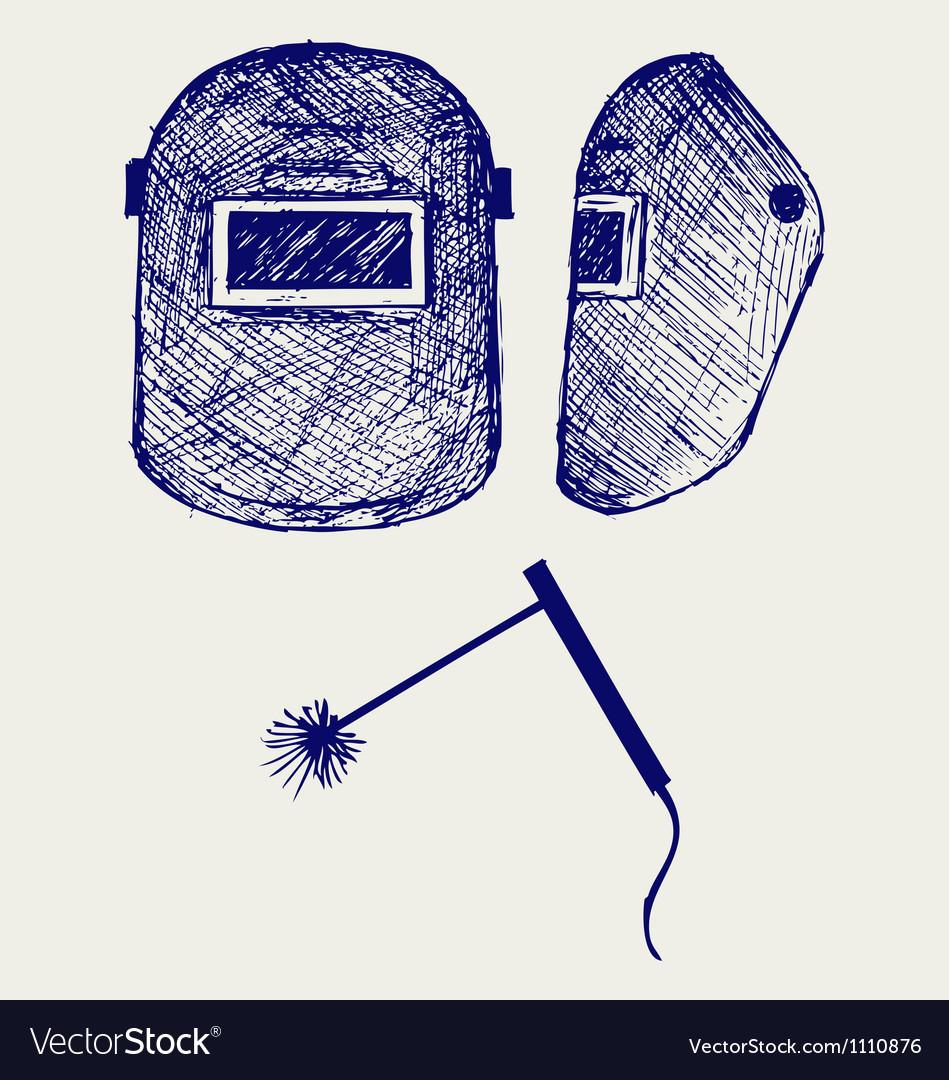 Protective welding mask helmet vector image