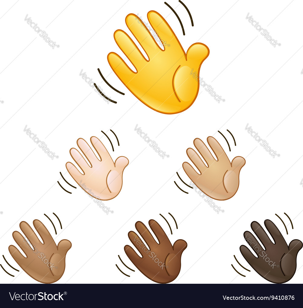 Waving hand sign emoji vector image