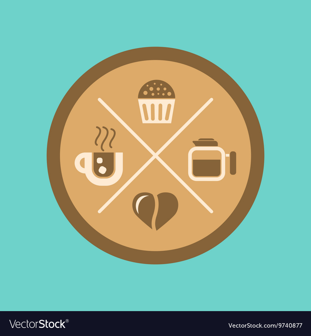 Flat icon on background coffee bean logo vector image