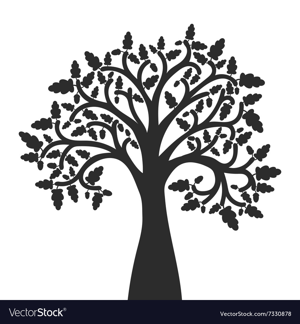 silhouette of oak tree with leaves royalty free vector image