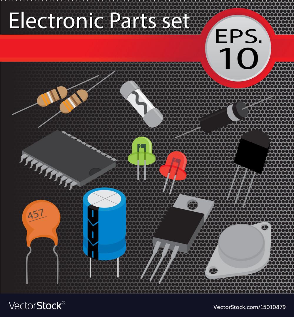 Electronic parts set flat style vector image