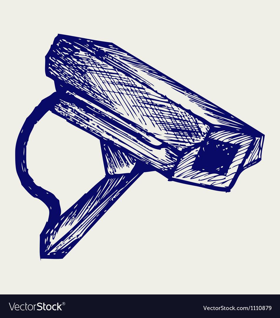Outdoor surveillance camera vector image
