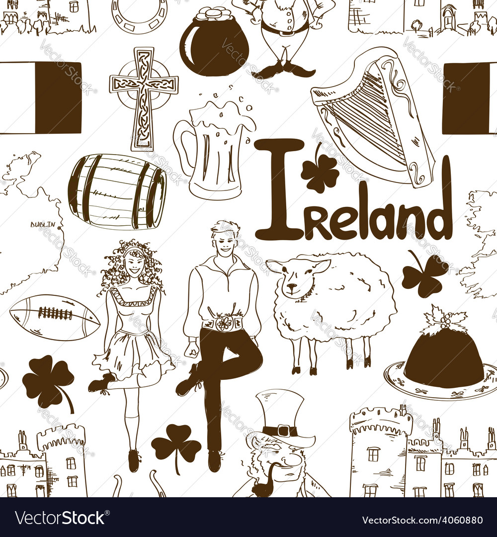 Irish symbols seamless pattern vector image