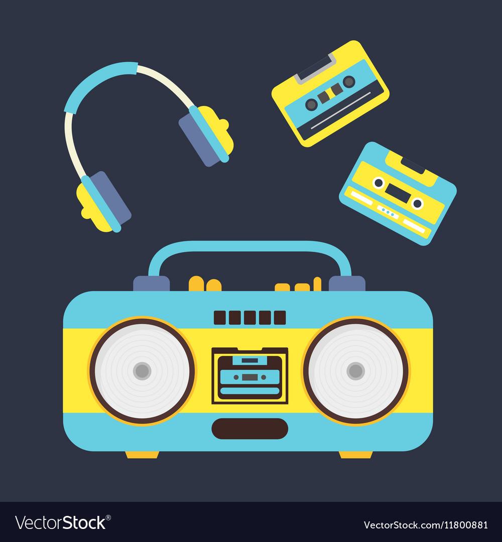 Cartoon Boombox Cassettes and Headphones vector image