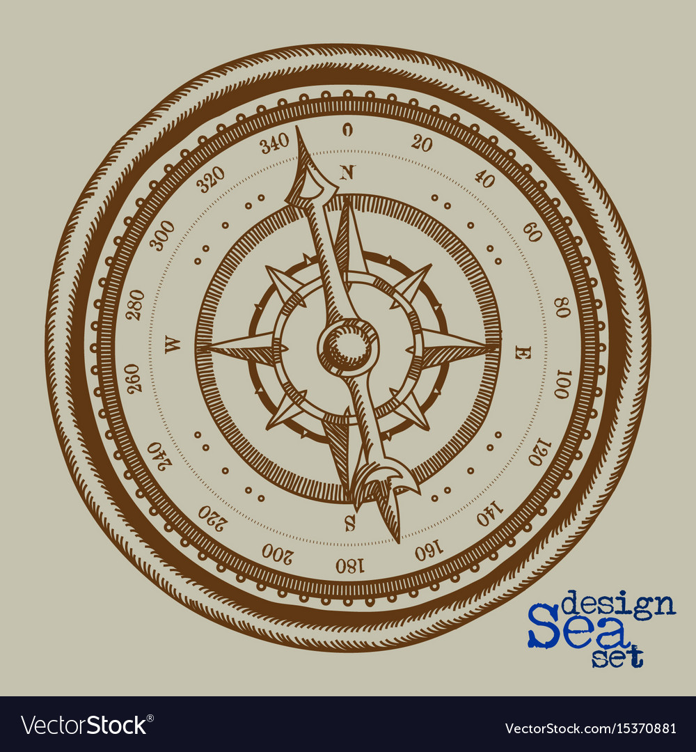 Compass freehand drawing vector image