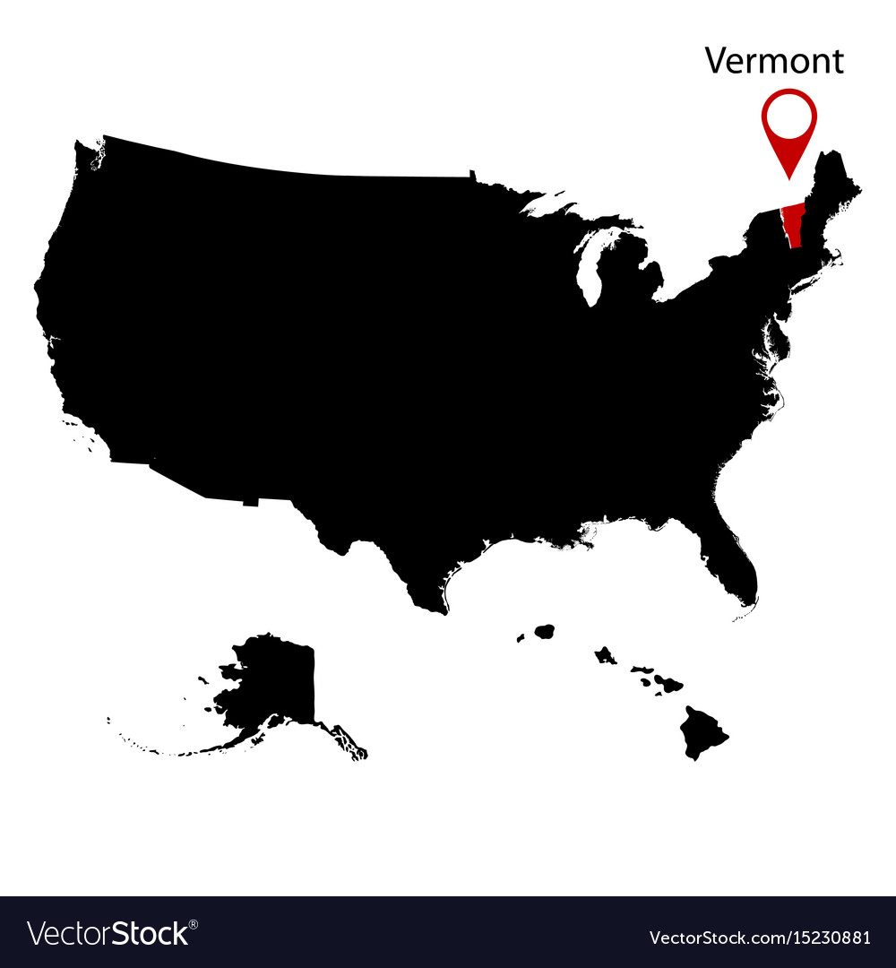 Map Of The Us State Of Vermont Royalty Free Vector Image - Free vector us map