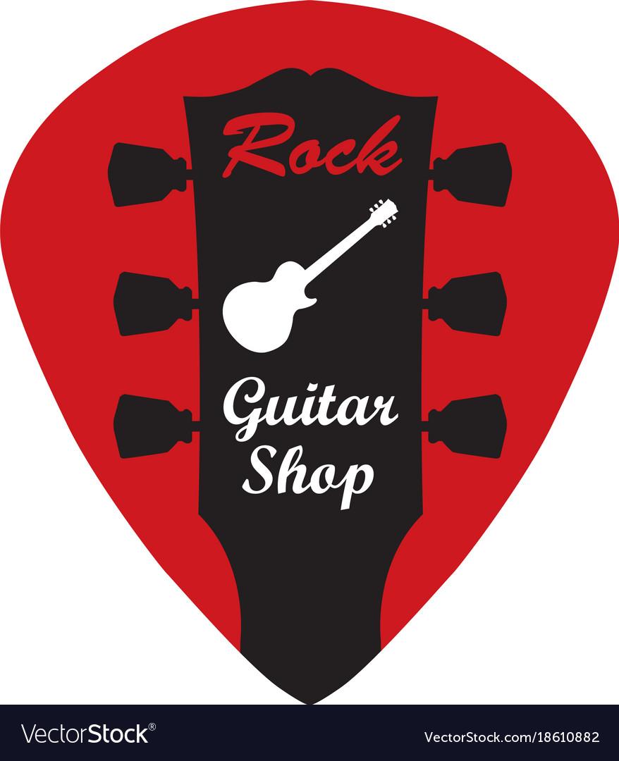 Guitar Headstock In Pick With Rock Vector Image