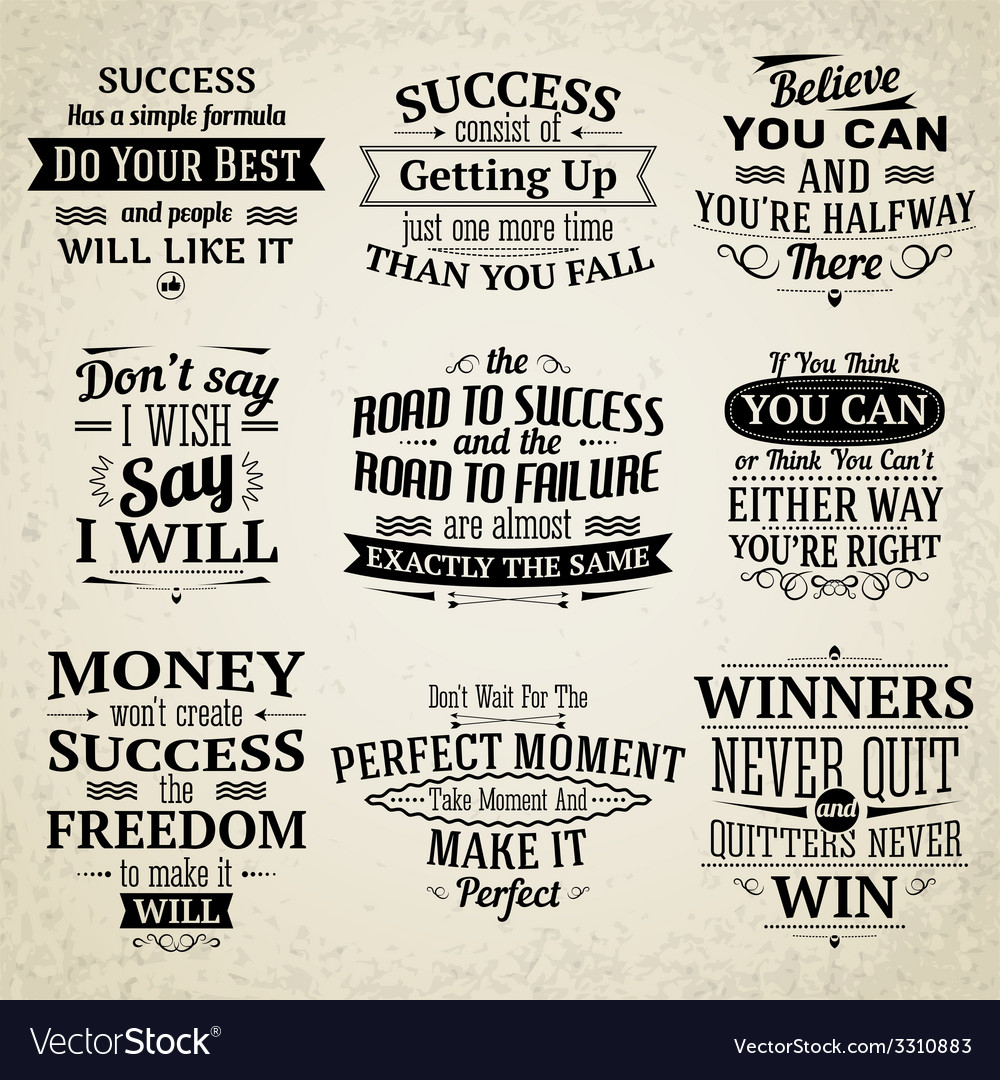 Road To Success Quotes Success Quotes Set Royalty Free Vector Image  Vectorstock