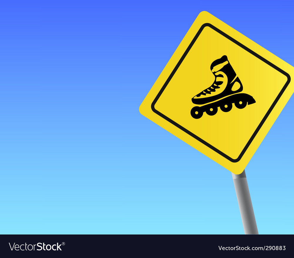 Traffic sign roller sky background vector image