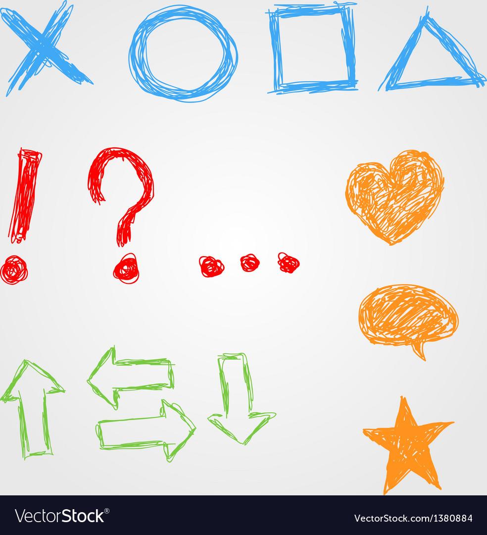Hand drawn symbols vector image
