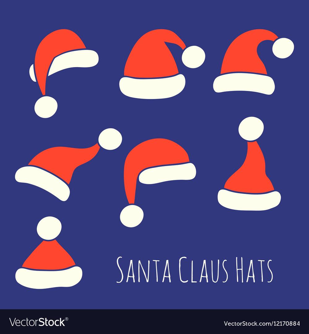 Santa Claus Hats Set vector image