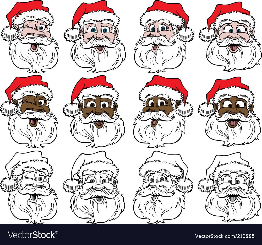 Santa's face vector image