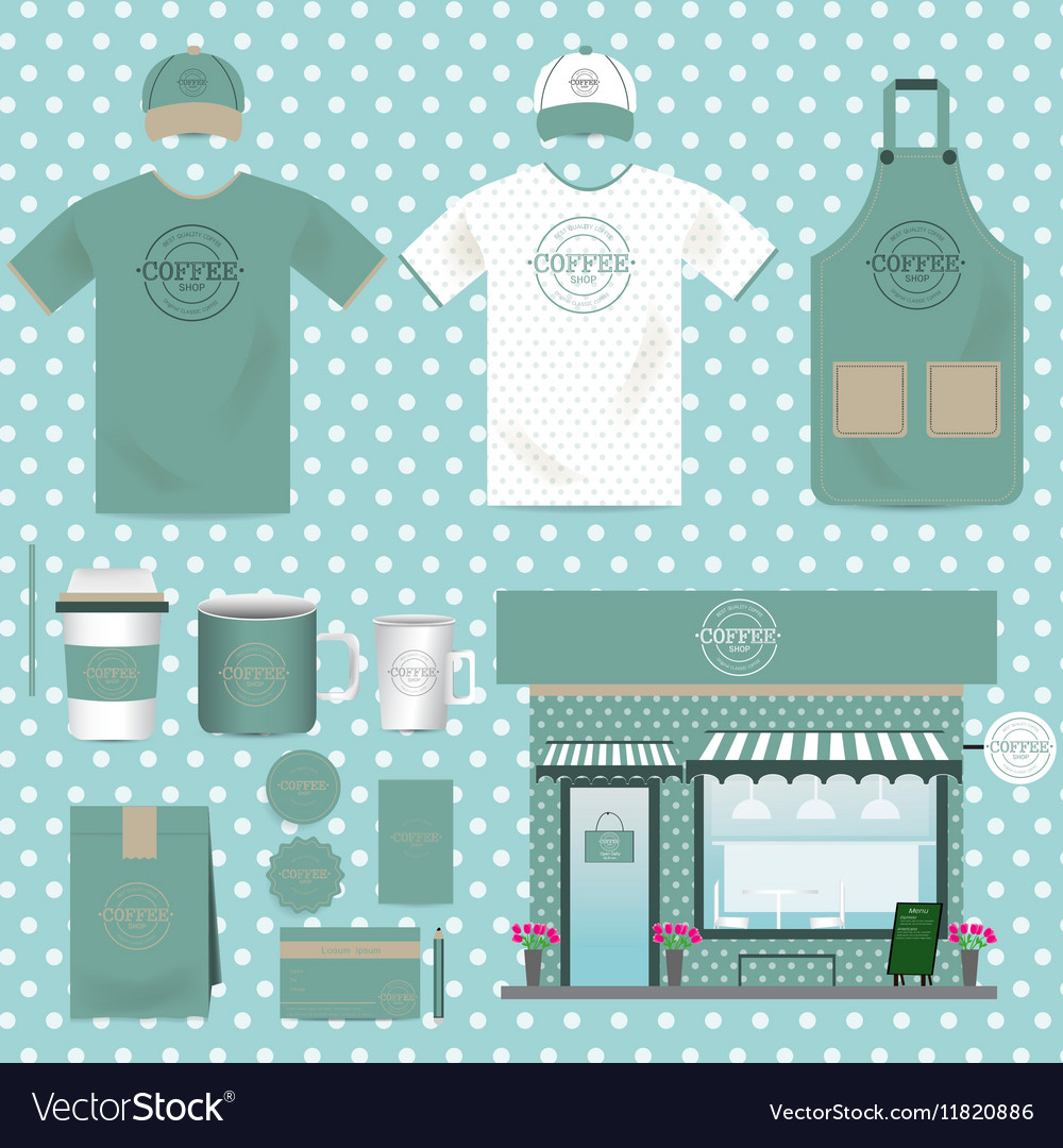 Cafe Shop Set Vintage Style can be used for Layout vector image