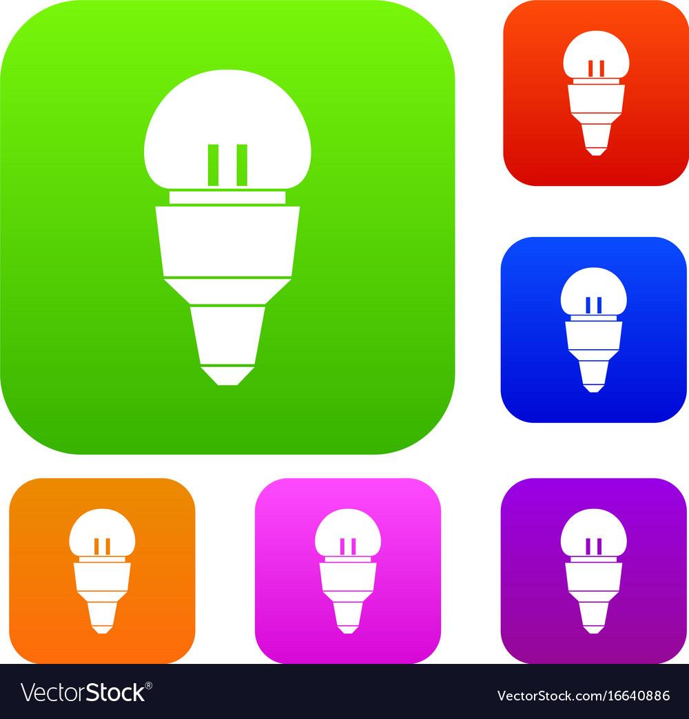 Reflector bulb set collection vector image