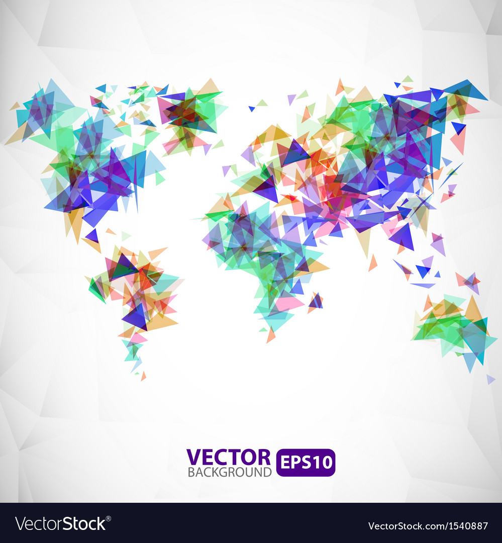 Abstract triangle world map with explosion vector image gumiabroncs Image collections