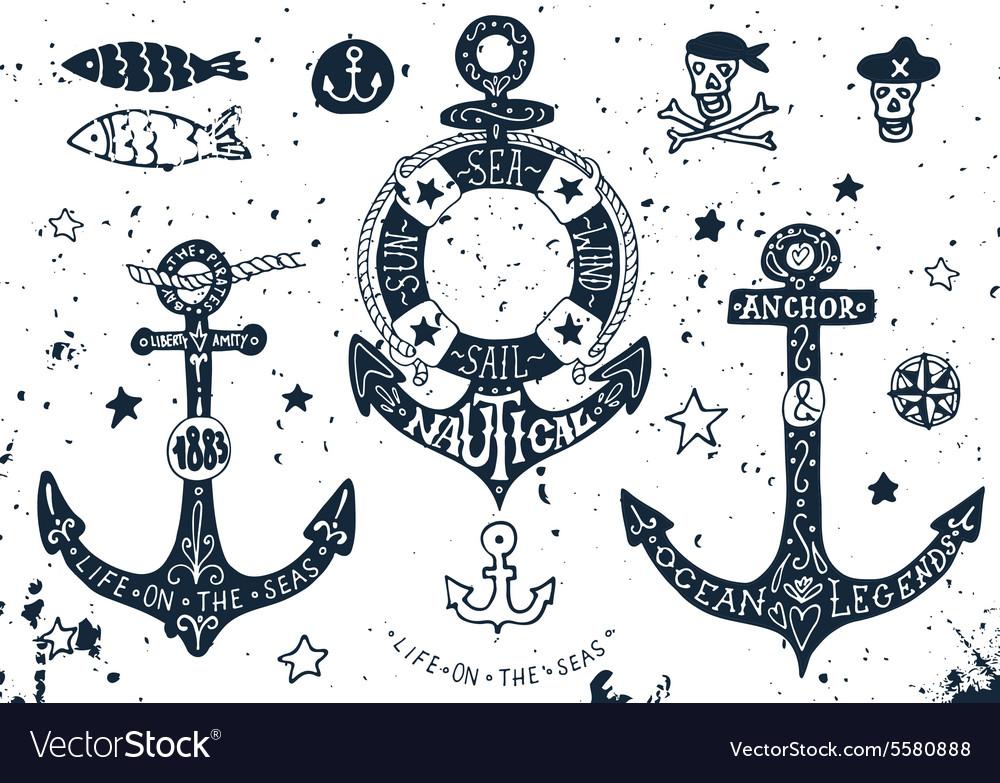 Set of hand drawn anchors vector image