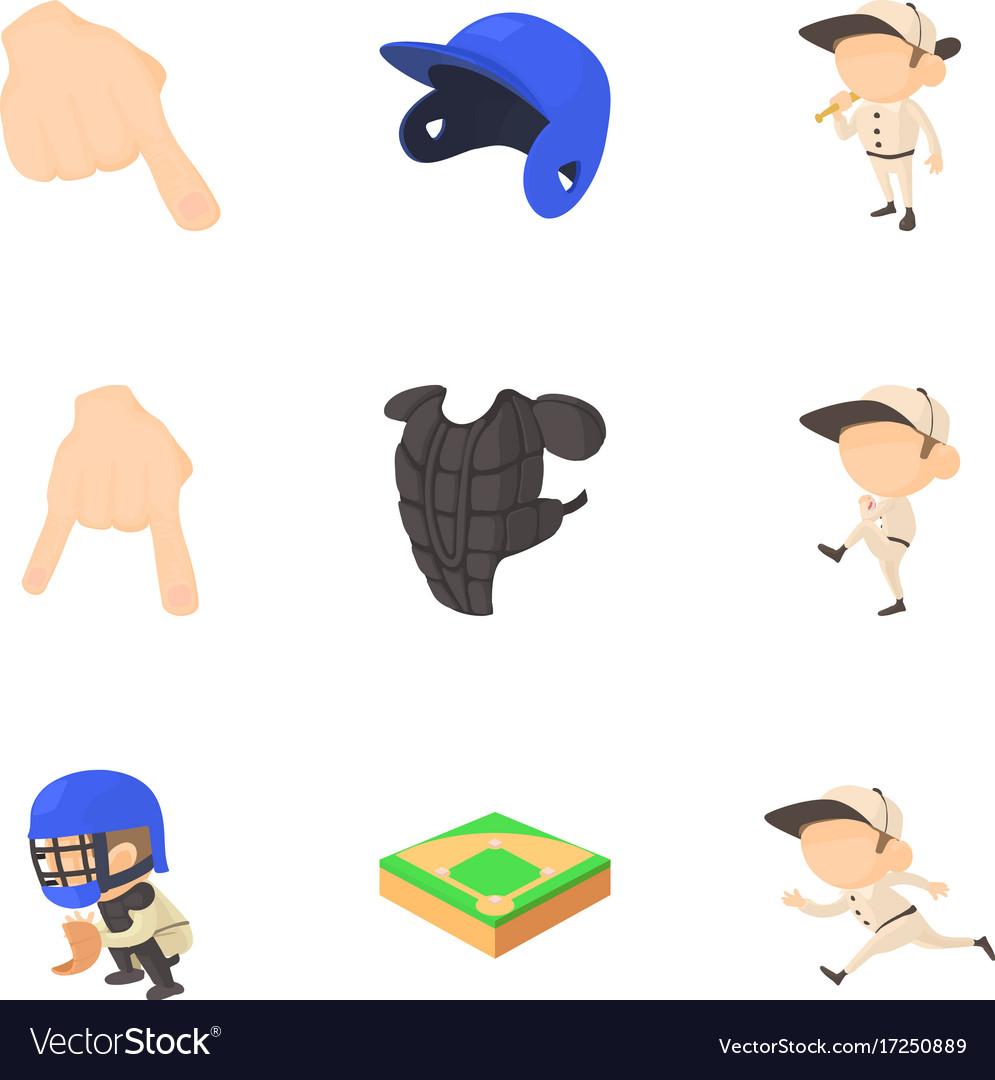 Baseball game icons set cartoon style vector image