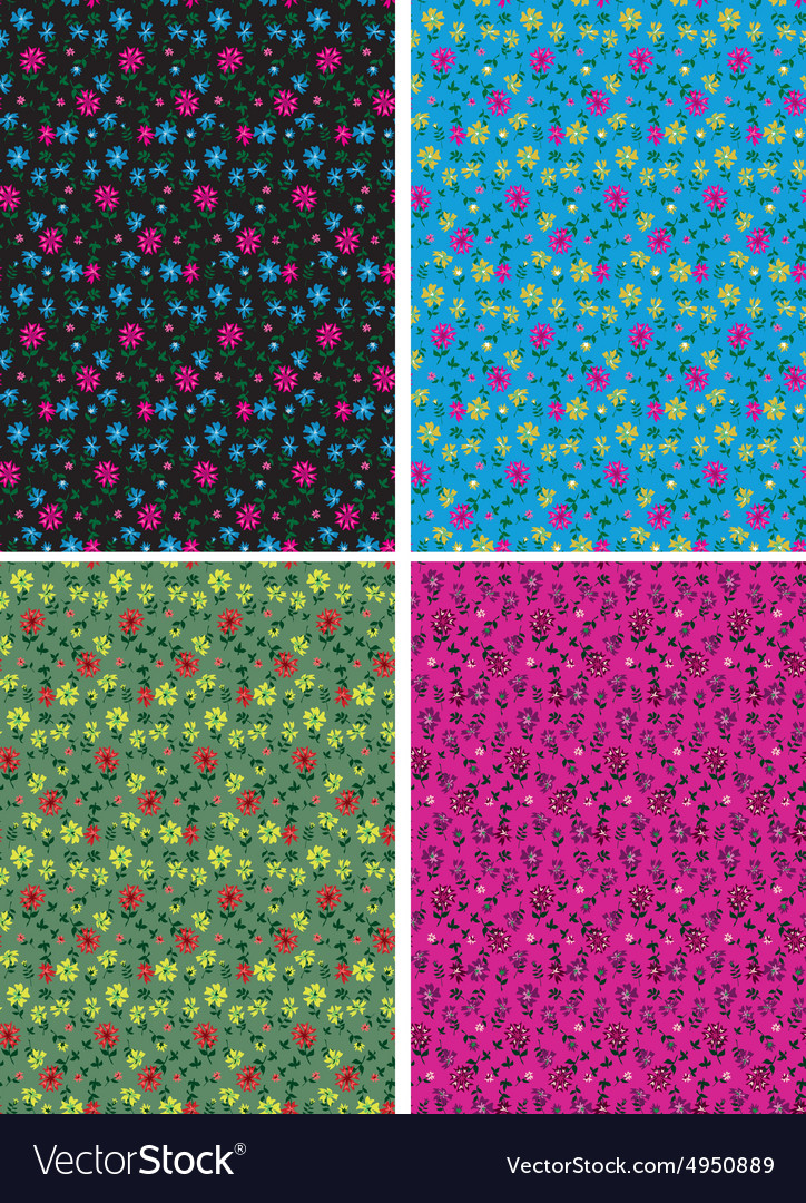 Classical ditsy floral seamless background vector image