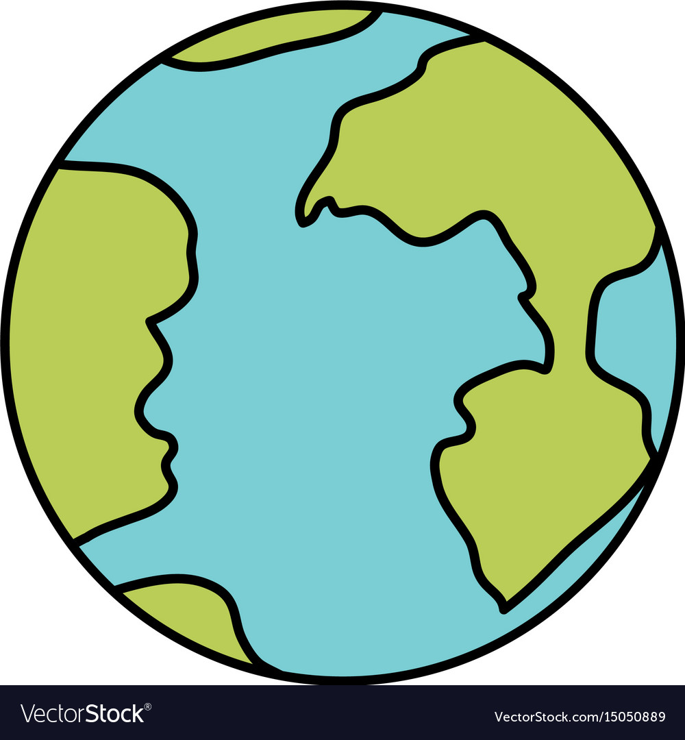 Colorful silhouette of earth globe icon vector image