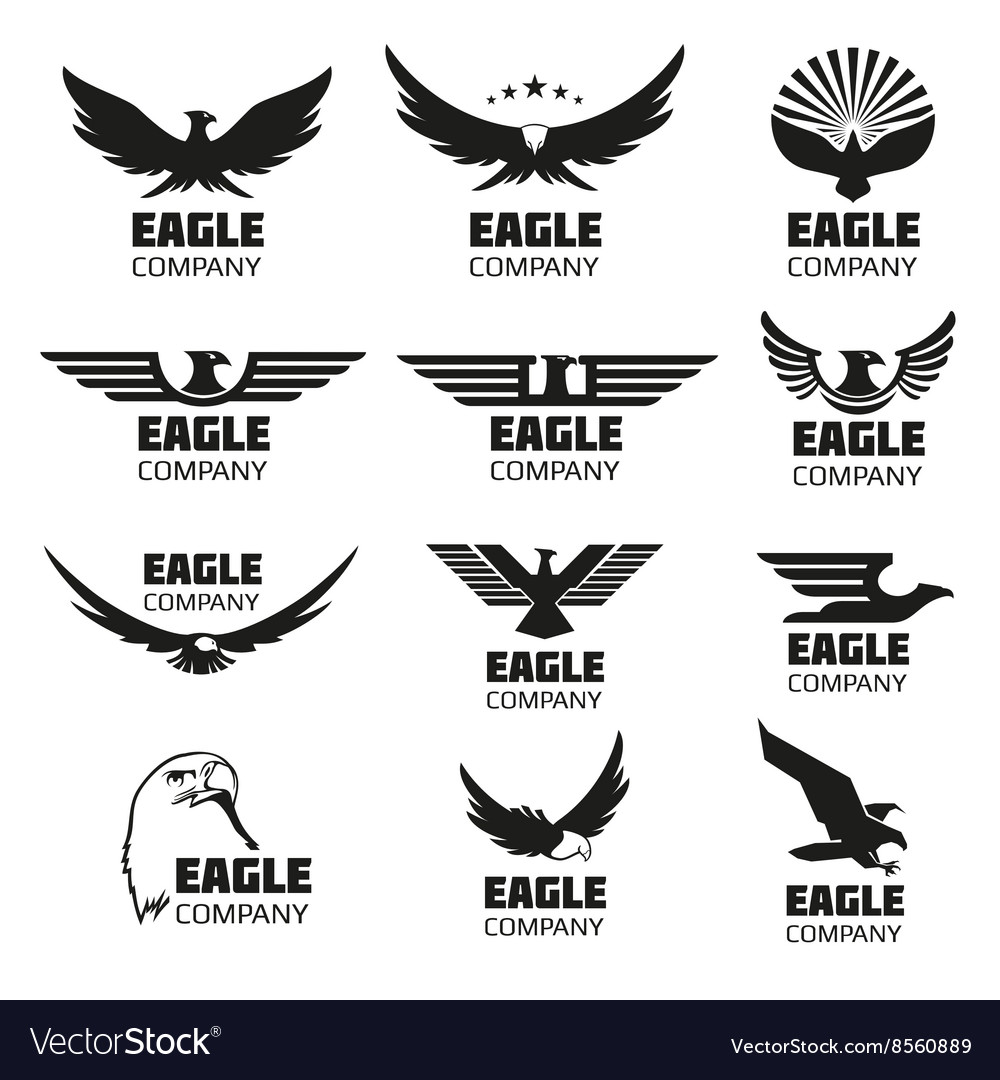 Heraldic symbols with eagle silhouettes vector image
