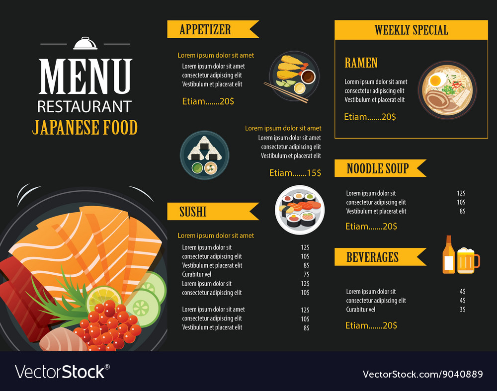 Japanese Food Menu Restaurant Brochure Vector Image
