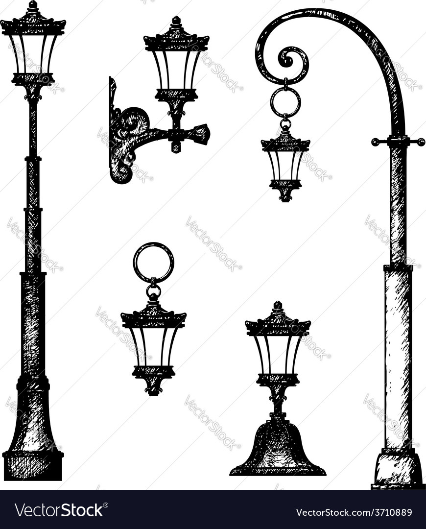 Sketch of street light drawing Royalty Free Vector Image for Street Light Drawing  181obs