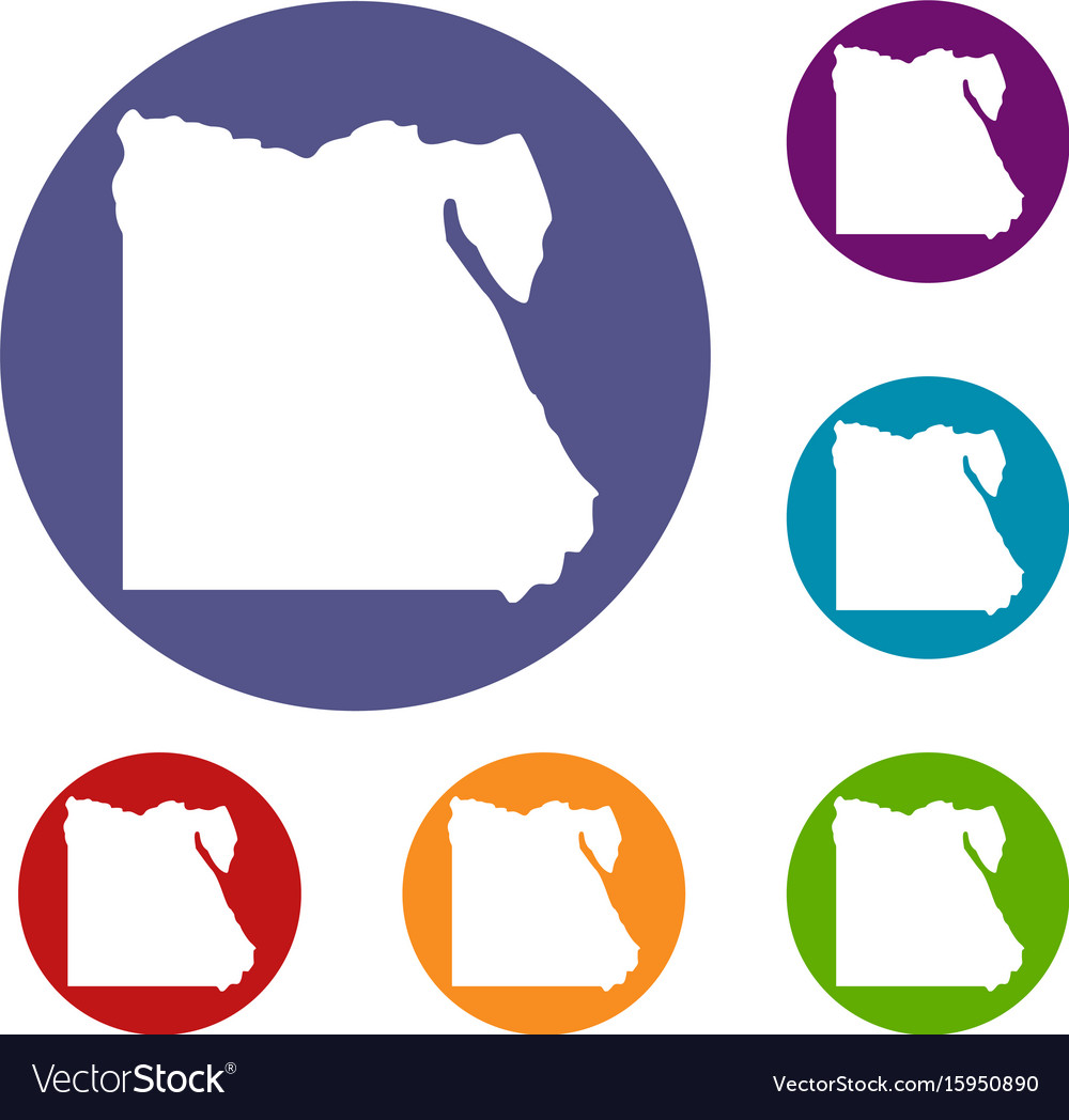 Map of egypt icons set vector image