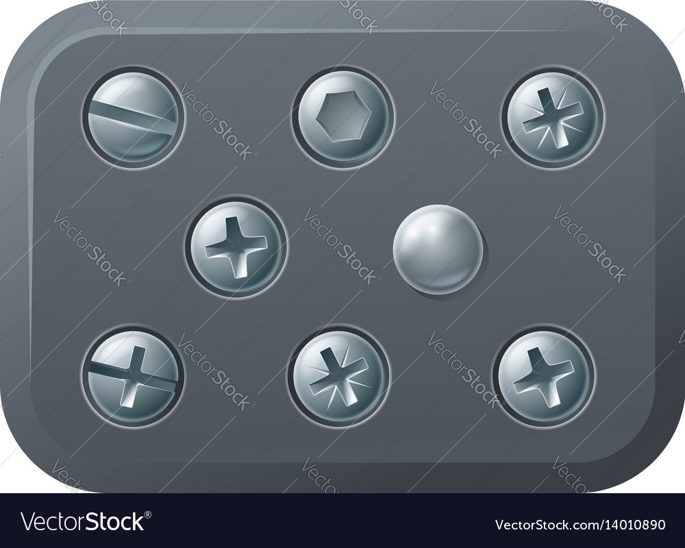 Screws and bolts design elements vector image